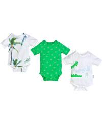 Gelati Chlapecká sada body s kr. rukávem Aloha, 3 ks - bílo-zelená