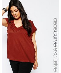 ASOS CURVE - Tunique à bordure volantée - Rouge