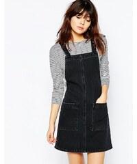 ASOS - Robe courte chasuble en jean - Noir délavé - Noir