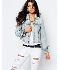 Blank NYC - Kurze Jeansjacke mit Fransensaum - Blau