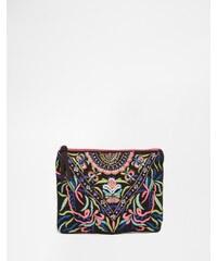 Glamorous - Bestickte Envelope-Clutch - Mehrfarbig