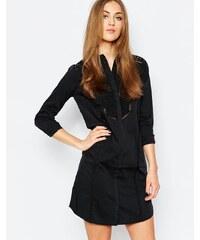 Warehouse - Robe chemise avec détails en dentelle - Noir