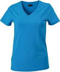 Dámské tričko s moderním výstřihem do V - Tyrkysově modrá S