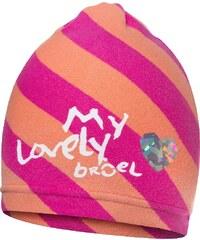 Broel Dívčí pruhovaná čepice - růžovo-oranžová