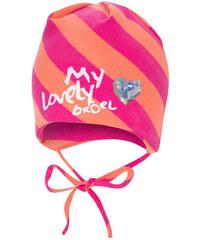 Broel Dívčí pruhovaná čepice se srdíčkem - růžovo-oranžová