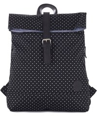 Batoh Enter Fold Top Backpack Black/ White Polka Dot Print