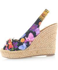 Ideal Černé květované platformové sandály Norela