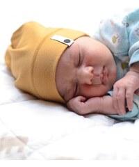 Lamama Dětská novorozenecká čepice - žlutá