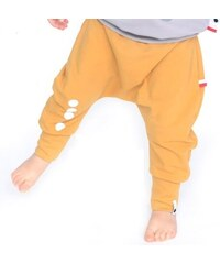 Lamama Dětské bavlněné kalhoty s reflexním potiskem - hořčicové