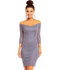 Dámské společenské značkové šaty MAYAADI 338 G krajkové s 3/4 rukávem krátké šedé
