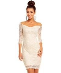 Dámské společenské značkové šaty MAYAADI 338 C krajkové s 3/4 rukávem krátké krémové