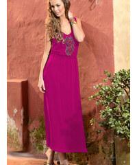Dlouhé letní šaty s výšivkou PHAX fuchsiové - M