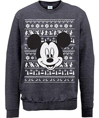 Brands In Limited Herren Sweatshirt Mickey Mouse Christmas Mickey Head