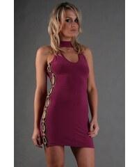 PrettyWomen Mini šaty s průstřihy a korálky - L