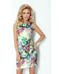 SAF Dámské pouzdrové šaty se zipy zelené květy velikost oblečení: XL