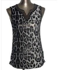 LM moda Top, tílko elegantní leopardí šedé