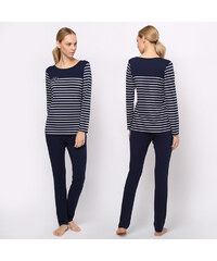 Lesara 2-teiliger Pyjama mit gestreiftem Oberteil - Blau - M – 40