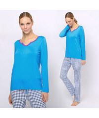 Lesara 2-teiliger Pyjama mit karierter Hose - Hellblau - S – 38