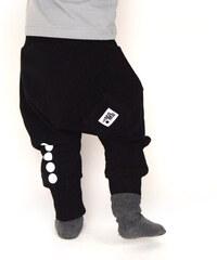 Lamama Dětské bavlněné kalhoty s reflexním potiskem - černé