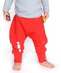 Lamama Dětské bavlněné kalhoty s reflexním potiskem - červené