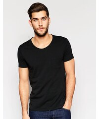 United Colors of Benetton - T-shirt à encolure dégagée avec poche - Noir