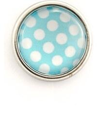 JewelsHall Knoflík Cvak - kabošon puntíky - modrý - 1,2 cm