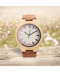 Lesara Bambusholz-Armbanduhr mit Leder