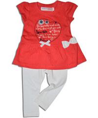 Minoti Dívčí tričko s legínami Coral - červeno-bílé