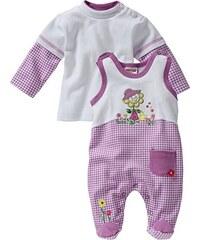 Schnizler Baby - Mädchen Strampler Interlock, Blume Kariert, 2-tlg. Set, Langarmshirt