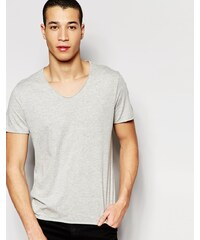 Selected Homme - T-shirt à col brut - Gris