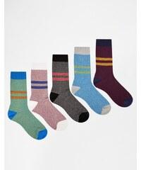 ASOS - Lot de 5 paires de chaussettes pour bottes à rayures en fil torsadé texturé - Multi