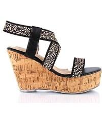 Černé korkové sandálky LT22513B