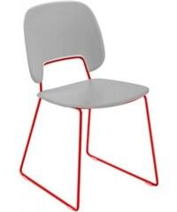 DOMITALIA Srl Traffic-t - Jídelní židle (lak červený mat, eko kůže bílá)