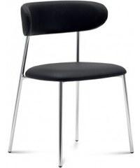 DOMITALIA Srl Anais - Jídelní židle (chromovaná ocel, eko kůže černá)