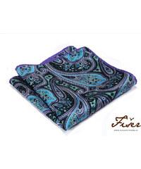 Fišer Luxusní hedvábný kapesníček fialovo modrý