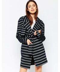 HUSH HUSH Tmavě modrý pruhovaný kabát