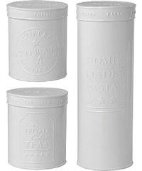 Bastion collections - Set 3ks kuchyňských plechových kulatých boxů, bílá (Pasta/Coffee/Tea) cena za