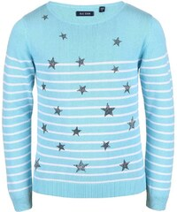 Blue Seven Dívčí pruhovaný svetr s hvězdičkami - modrý
