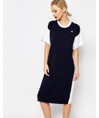 adidas Originals by HYKE - Gestricktes T-Shirt-Kleid mit Midilänge und Kontrastrücken - Mehrfarbig