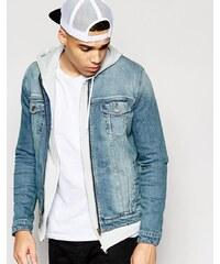 ASOS - Veste en jean sans col - Délavage bleu moyen - Bleu