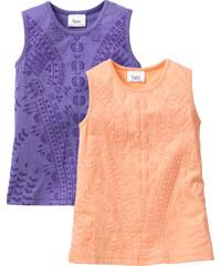 bpc bonprix collection Lot de 2 tops à motif structuré, T. 80/86-128/134 orange sans manches enfant - bonprix