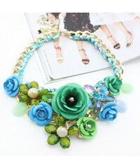 Lesara Statement-Halskette im Blumen-Design - Grün