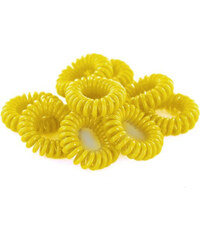 Lesara 10er-Set Haargummi im Telefonkabel-Design - Gelb