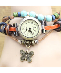 Lesara Leder-Armbanduhr mit Schmetterlings-Anhänger - Orange