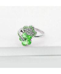 Lesara Blumen-Ring mit Swarovski Elements - Grün - 53