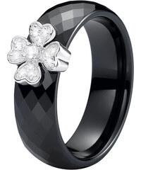 A.Angelini Keramik-Ring mit Kleeblatt - Schwarz - 54