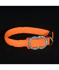 Lesara Hunde-LED-Halsband mit Brosche - Orange - L