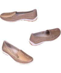 Real_Leather Damen-Echtleder-Slipper - Bronze - 36