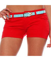 Lesara Damen-Shorts mit Gürtel - Rot - L