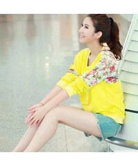 Lesara Pullover mit Blumen-Details - Gelb - M